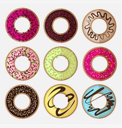 Round donut minimalistic flat set vector