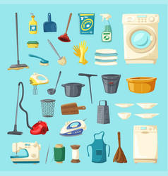 Household item and cleaning supply icon set vector