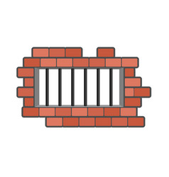 Prison grill and wall window in prison with bars vector