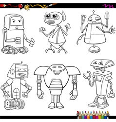 Fantasy robots cartoons coloring page vector