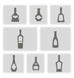 Set of monochrome icons with bottles vector