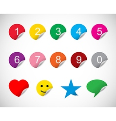 Colorful stickers with numbers vector