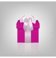Pink square gift box with white ribbon and bow vector