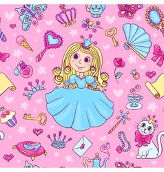 Seamless pattern with cute little princess vector