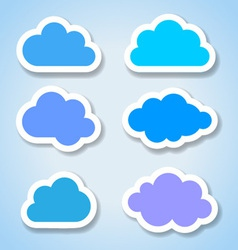 Set of 6 paper colorful clouds vector