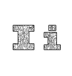 Anti coloring book alphabet the letter i vector