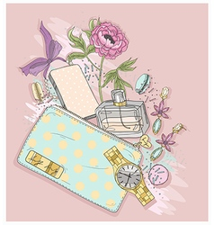 Background with purse perfumeflowes vector