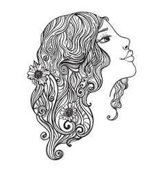 beautiful woman with flowers in her hair vector image vector image