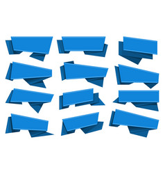Blue origami ribbons set vector