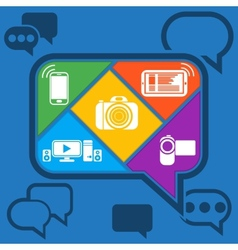 Bubble chatting infographic with icons mobile vector image
