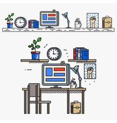 Creative designer workspace in thin line flat vector image