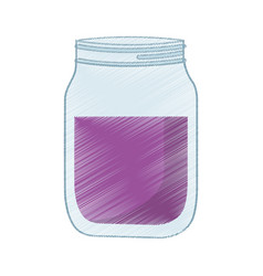 Drawing glass jar juicy vector