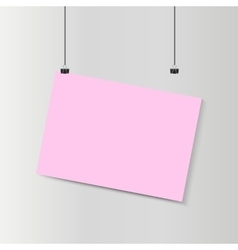 Empty falling horizontal pink paper poster mockup vector image