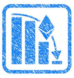 Ethereum falling acceleration chart framed stamp vector