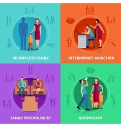 Family conflict design concept set vector