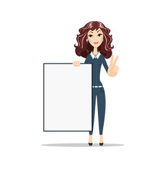 Female showing placard ready for your text vector