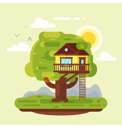 Flat style of house on tree vector