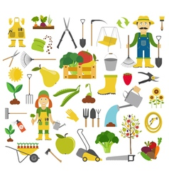 Gardening work farming icon set Flat style design vector image