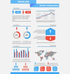 gender infographics template vector image vector image