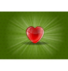 heart background shine green vector image