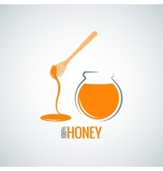 Honey jar pot glass background vector