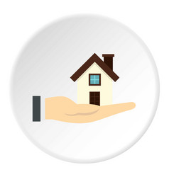 House in hand icon circle vector