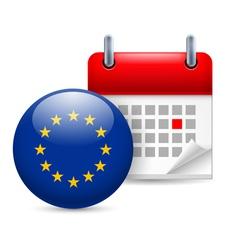 Icon of EU flag and calendar vector image