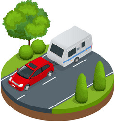 Isometric red car with camping trailer on road vector