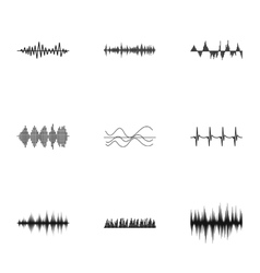 Music wave icons set simple style vector