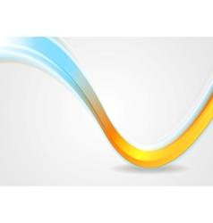 Orange and cyan iridescent wave design vector