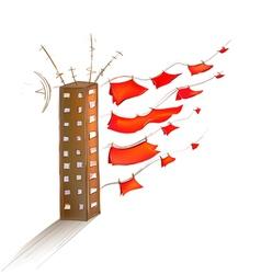 Scarlet sails on land vector