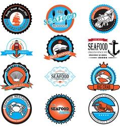 seafood symbols vector image vector image