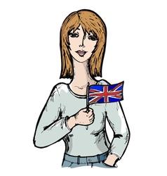 sketch cartoon of English girl vector image