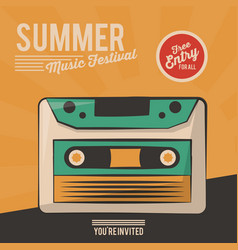 vintage poster summer music festival cassette vector image