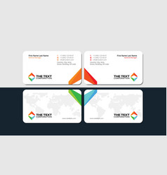 white business card with colorful triangular logo vector image
