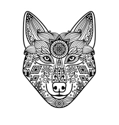 Wolf head with hand drawn ornament vector