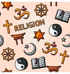 World religion hand drawn seamless pattern - vector image