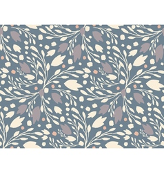 Organic floral pattern in muted cold colors vector