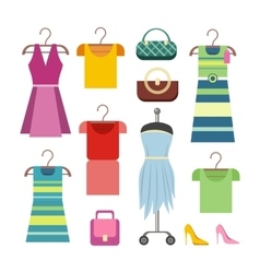 Set of women clothes items editable elements vector