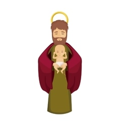 Joseph and jesus of holy night design vector