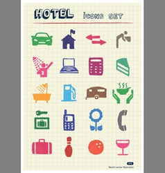 Hotel and service icons set drawn by color pencils vector