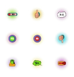 Click and selection icons set pop-art style vector