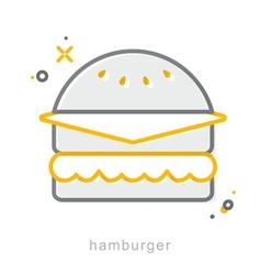 Thin line icons hamburger vector