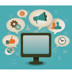 Vintage concept of social media vector