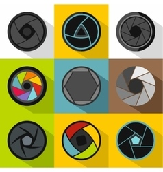 Types of aperture icons set flat style vector