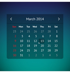 Calendar page for march 2014 vector