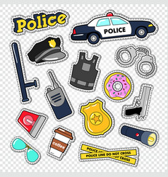 Policeman stickers and badges set with police car vector
