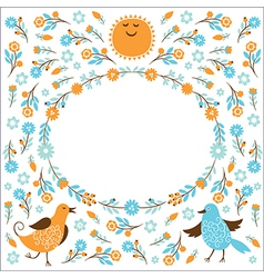 Frame with birds and flowers vector