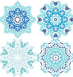 Blue cute christmas winter snowflakes vector