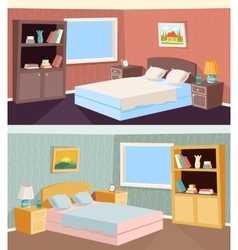 Cartoon bedroom apartment livingroom interior vector